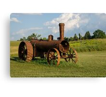 Antique And Rusty - a Vintage Iron Tractor on a Farm Canvas Print