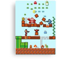 Pixel game characters fighting Canvas Print