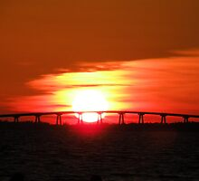 Sunset at the Sanibel Bridge by Rosalie Scanlon