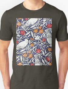 Blue Bird Freehand Sketch Watercolor Background T-Shirt