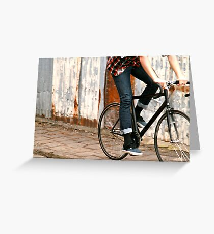 Fixie cycling in Melbourne Greeting Card