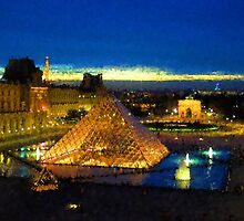 Impressions of Paris - Louvre Pyramid Blue Hour by Georgia Mizuleva
