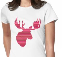 The Pink Striped Moose Womens Fitted T-Shirt