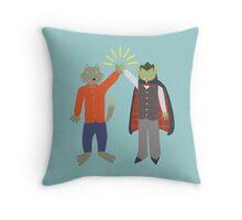 Vampire and Werewolf High Five Throw Pillow