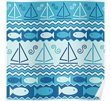 Sailboats and Fishes Poster