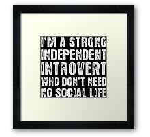 I Am A Strong Independent Introvert Who Dont Need No Social Life Framed Print