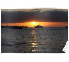 Sunset over the port Poster