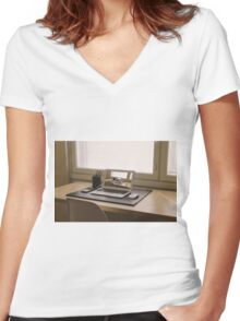 Surreal Laptop Repeating Screen 1 Women's Fitted V-Neck T-Shirt