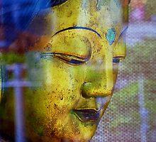 Golden Budda, Window reflection by Digby