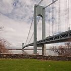 Verrazano Narrows Bridge viewed from Fort Wadsworth on Staten Island. by Edward Mahala