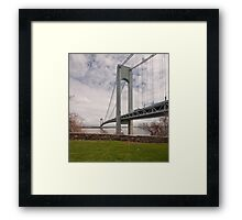 Verrazano Narrows Bridge viewed from Fort Wadsworth on Staten Island. Framed Print