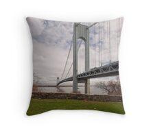 Verrazano Narrows Bridge viewed from Fort Wadsworth on Staten Island. Throw Pillow