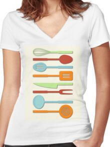 Kitchen Utensil Colored Silhouettes on Cream II Women's Fitted V-Neck T-Shirt