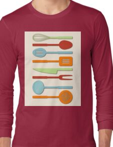 Kitchen Utensil Colored Silhouettes on Cream II Long Sleeve T-Shirt