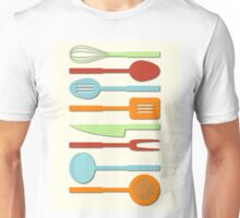 Kitchen Utensil Colored Silhouettes on Cream II Unisex T-Shirt