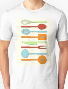 Kitchen Utensil Colored Silhouettes on Cream II T-Shirt