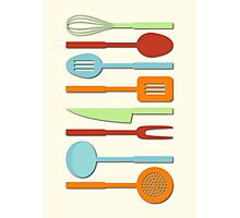 Kitchen Utensil Colored Silhouettes on Cream II Photographic Print