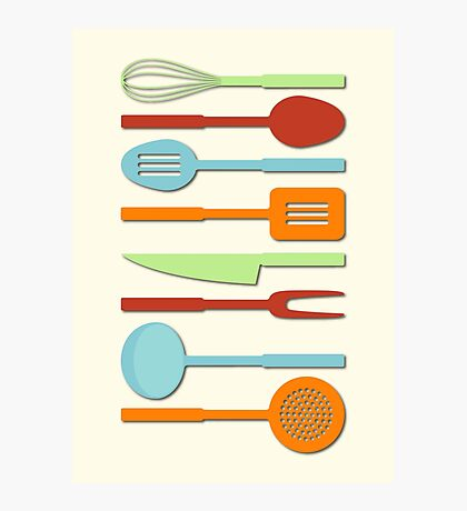 Kitchen Utensil Colored Silhouettes on Cream II Photographic Print