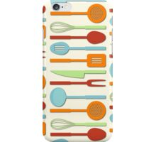 Kitchen Utensil Colored Silhouettes on Cream II iPhone Case/Skin