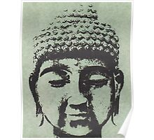 Buddha in Sage Green/Black Poster