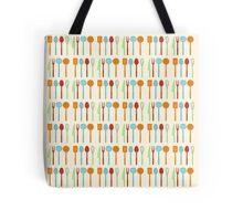 Kitchen Utensil Colored Silhouettes on Cream Tote Bag