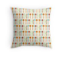 Kitchen Utensil Colored Silhouettes on Cream Throw Pillow