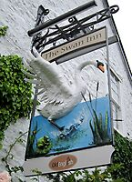 The Swan Inn pub sign, Tockington, Gloucestershire, UK by David Carton