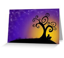 The boy, the tree and the stars Greeting Card