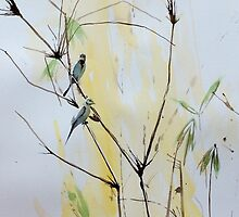 Finches in Bamboo by TASHHOFER