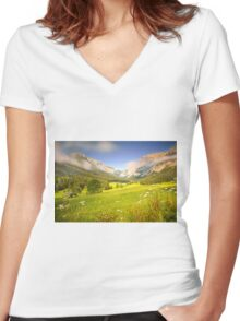 Summer meadow in the alps Women's Fitted V-Neck T-Shirt