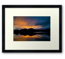The sun has set over the Fishing Temple Framed Print
