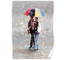 Red, Black, Yellow and Blue Umbrella Poster