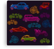 colorful cross-stitch textured vintage vehicles Canvas Print
