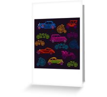 colorful cross-stitch textured vintage vehicles Greeting Card