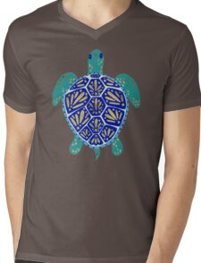 Sea Turtle – Navy & Gold Mens V-Neck T-Shirt