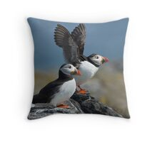 Puffin in a flap Throw Pillow