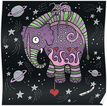 Interstellar Elephant Print by Anita Inverarity