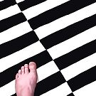 My Left Foot on a Black and White Rug in Nice by Paul Mudie