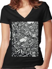Black and White Sketch Bird Women's Fitted V-Neck T-Shirt