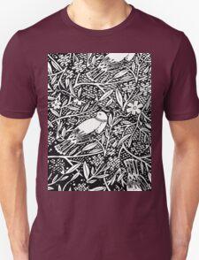 Black and White Sketch Bird Unisex T-Shirt