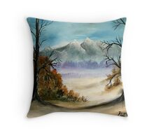 landscape mountains oil painting Throw Pillow