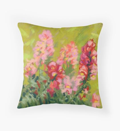 Snapdragon (antirrhinum) flowers. Painted with pastels.  Throw Pillow
