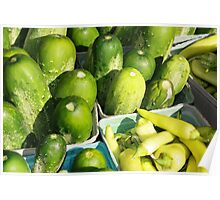Cucumber and Banana Peppers Poster