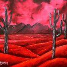 southwestern cactus landscape oil painting by derekmccrea