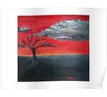 Scarlet Sky- peaceful acrylic original art Poster