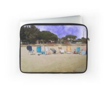 Beach with empty  chairs. Laptop Sleeve