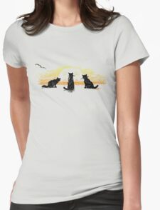 Three cats watching the sunset Womens Fitted T-Shirt