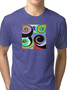 Modern Abstract Swirl Design Tri-blend T-Shirt