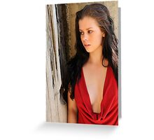 Stacey - red cowl 1 Greeting Card