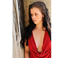 Stacey - red cowl 1 Photographic Print